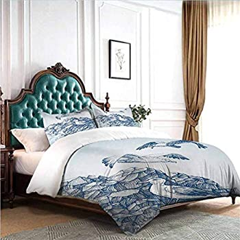 Image of Home and Kitchen dsdsgog Classic Bedding Set Sea Animals,Underwater with Coral Reef and Colorful Fish Aquarium Artistic Print,Turquoise Yellow Pink 90x104 inch Hypoallergenic