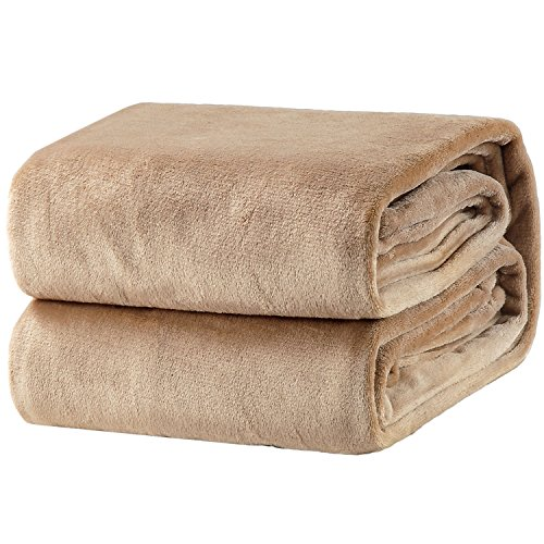 Bedsure Flannel Fleece Luxury Blanket Camel Twin Size Lightw