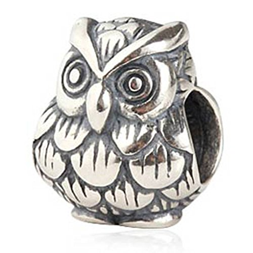 925 Sterling Silver Owl Charm (Choruslove Owl Lucky Animal Charm Antique 925 Sterling Silver Bead for European Style Bracelet)