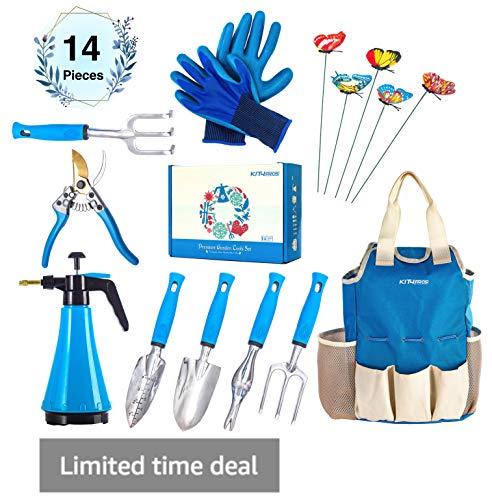Kit4Pros Premium Garden Tools Set | Gardening Gifts for Women & Men | Heavy Duty Kit w/Ergonomic Handle | Weeder | Cultivator | Trowel | Storage Tote Bag Organizer | Pruning Shears & Gardener Gloves (Basket Tool Ideas Gift)