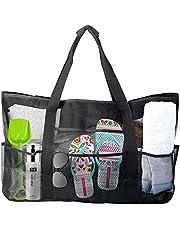 Ysislybin Stor nätstrandväska, sandleksaker förvaringsväska, picknickväskor, strandväska nät, resväska strandväska för strand semester resa, svart 70 x 18 x 45 cm