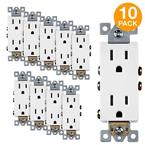 Electrical Receptacle (Enerlites 15A Tamper Resistant Outlet 61501-TR | Decorator Duplex Receptacle, Residential Grade, Self-Grounding, Child Safe, UL Listed, Straight Blade, 2-Pole | 125V, White - 10 Pack)