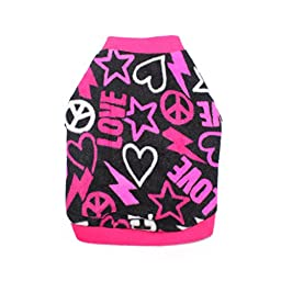 Idepet Pet Dog Cat Clothes Graffiti Style Soft Fleece Sweater Shirt Coat for Small dog Puppy Teddy Chihuahua Poodle Boys Girls (S, Rose)