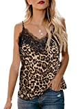 Womens Summer Spaghetti Strap Lace Leporad Printed Blouses V-Neck Sleeveless Loose Office Tank Tops Large 12 14 Brown