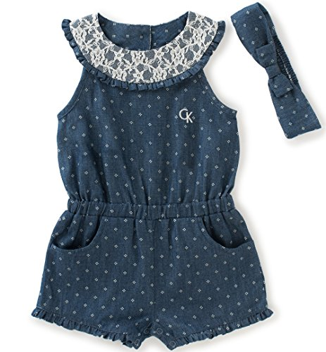 Calvin Klein Baby Girls' Romper with Headband, Dark Blue, 18M