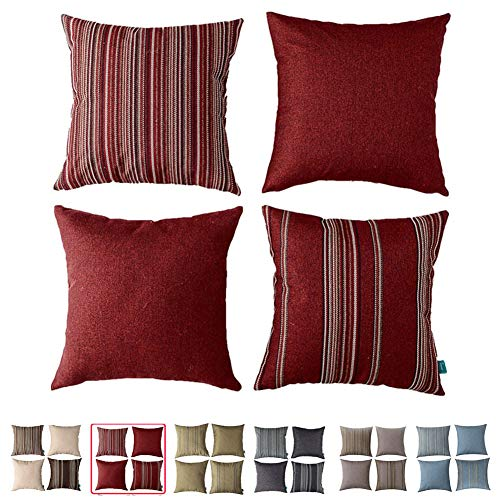 HPUK Decorative Red Throw Pillow Covers, Set of 4 17 x 17 Cushion Covers, with Woven Check Multi-Pattern Story, Woven Stripes, Wool Look (Sofa Maroon Set)