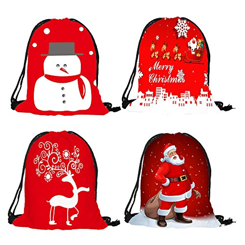 Christmas Drawstring Bags, Holiday Theme Party Favor Fabric Treat Bags, Reusable Gift Bags, Holiday Gift Bags for Party Favors Gifts and Candy, 4-Pack, 12.5