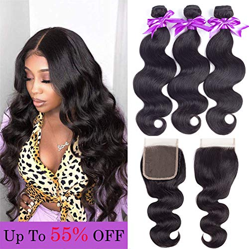 Brazilian Body Wave Human Hair 3 Bundles with Closure 100% Unprocessed Virgin Brazilian Human Hair Weave Extensions with 4x4 Lace Closure Natural Black Color (14 16 18 +12 Free Part) (Brazilian Body Wave Sew In With Closure)