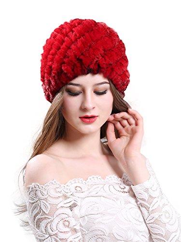 CHARLES RICHARDS Women Real Rex Rabbit Fur Winter Hat Knit Warm Lady ()