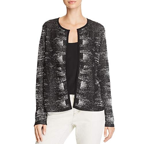 Eileen Fisher Womens Heathered Open Front Cardigan Top Black L
