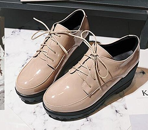 Easemax Para Mujer De Moda Bruñido Con Cordones Plataforma Medio Cuña Talón Punta Redonda Bombas Zapatos Albaricoque