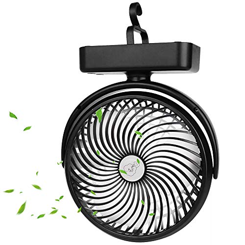 5000mAh Battery OperatedCamping Fan with LED Lantern,Portable 7-Inch Rechargeable Tent Fan,50 Working Hours Max USB Desk Fan with Hanging Hook for Tent Car RV Hurricane Emergency Outages Office