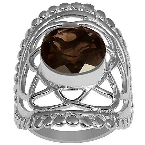 Genuine Checkerboard Round Shape Smoky Quartz Gemstone Ring Silver Plated, Handcrafted, Perfect for Wedding, Engagement, Mother Day (7.10 Cttw, 10 MM Round, Available in Size 7, 8)