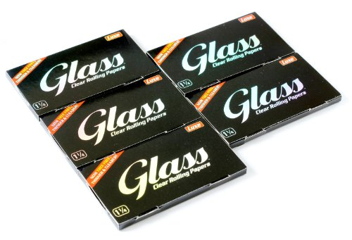 5 booklets x GLASS Clear Rolling paper size 1 1/4 - 100% Natural - 250 papers (Best Clear Rolling Papers)