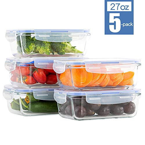 Glass Food Storage Containers with Airtight Lids, BPA Free, Meal Prep Container