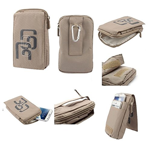 Beige Stripes Snap (DFV mobile - Multi-functional Universal Vertical Stripes Pouch Bag Case Zipper Closing Carabiner for => INFOCUS SNAP 4 > BEIGE (16 x 9.5 cm))
