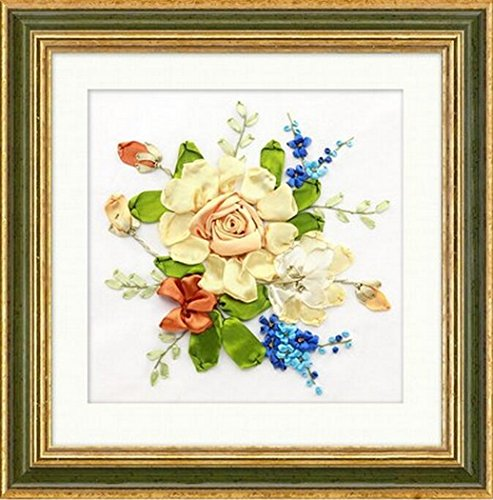 Aureate Handmade Silk Ribbon Embroidery Kits Canvas 3D Wall Art Home Decoration DIY Needlepoint Tapestry Hanging Gift Floral 14×14 (Multicolor-5)