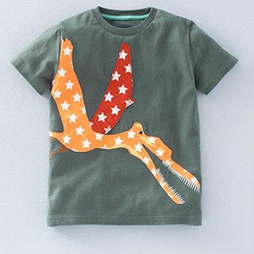 Gedruckt Armeegrün Mädchen Kurzarm Baby Shirt Cartoon Kurzarm Bluse Kinder Omiky® Kleidung Tops Jungen T qxO1XY55n
