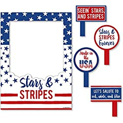 Big Dot of Happiness Stars & Stripes - 2018 Elections USA Patriotic Party Selfie Photo Booth Picture Frame & Props - Printed on Sturdy Material