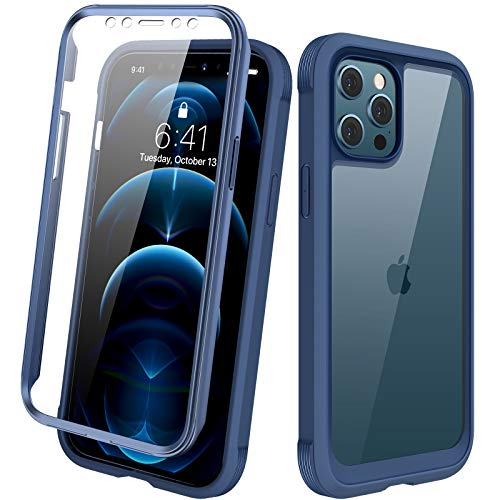 "Diaclara Designed for iPhone 12 Pro Max Case, Full Body Rugged Case with Built-in Touch Sensitive Anti-Scratch Screen Protector, Soft TPU Bumper Case for iPhone 12 Pro Max 6.7"" (Dark Blue and Clear)"