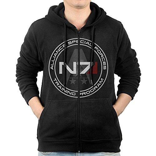 LuosisiJia Hoodie Sweatshirt Men's Mass Effect N7 Long Sleeve Zip-up Hooded Sweatshirt Jacket Black ()