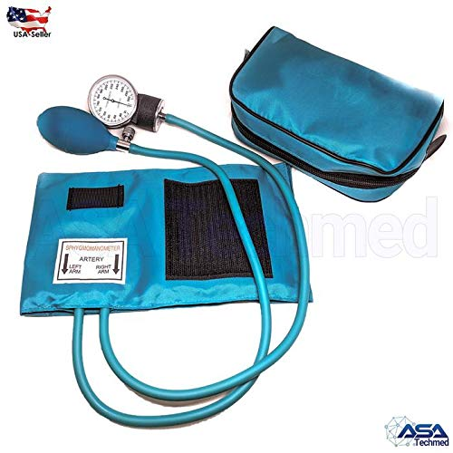 Manual Blood Pressure Monitor BP Cuff Gauge Aneroid Sphygmomanometer Machine Kit Ideal Gift for Medical Students, Doctors, Nurses, EMT, Paramedics and Firefighter ... (Teal)