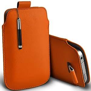 ONX3 Acer Liquid E2 Leather Slip cuerda del tirón de la PU de protección en la bolsa Quick Case Desc y Mini capacitivo Retractabletylus Pen (Naranja)