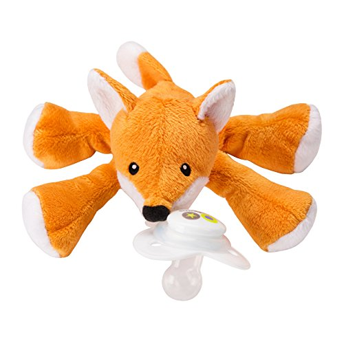 Nookums Paci-Plushies Fox Shakies - Universal Pacifier Holder and Rattle (2 in 1)
