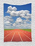 Ambesonne Olympics Decorations Collection, Sports Competition Running Track on a Sunny Day Lawn Grass Field Cloudy Sky, Bedroom Living Room Dorm Wall Hanging Tapestry, Blue White Coral