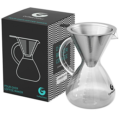 Coffee Gator Pour Over Brewer - Unlock Flavor with Paperless Filter and Carafe (27floz, black) ()