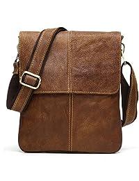 BAIGIO Leather Cross-body Satchel Messenger Bag Casual Shoulder Bag (Brown)