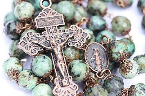 Large African Turquoise and Copper 10mm 5 Decade Natural Stone Bead Rosary Made in Oklahoma