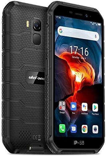 Móvil Resistente (2020), Ulefone Armor X7 Pro Android 10 4G Teléfono Móviles Antigolpes IP68, Batería 4000 mAh, Fotografía Submarina, Quad-Core 4GB+32GB, Dual SIM/GPS/NFC, Desbloqueo Facial Negro