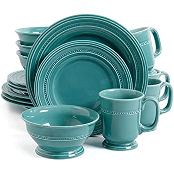 Gibson Elite Barberware 16 Piece Dinnerware Set Turquoise  sc 1 st  Amazon.com : dinnerware turquoise - pezcame.com