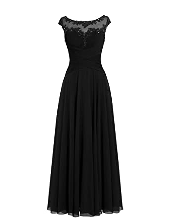 Cdress Chiffon Long Prom Dresses Beads Applique Maxi Evening Gowns Formal Dress Black US 2