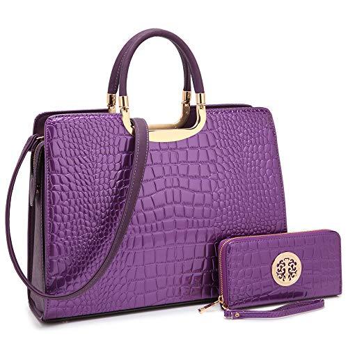 Dasein Designer Purse Stripes Satchel Handbag PU Leather Purse Top Handle Handbags (4-croco purple wallet set) ()