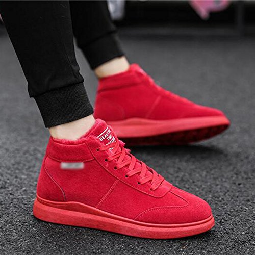 Men's Shoes Feifei High-Quality Materials Winter High Help Non-Slip Leisure Keep Warm Snow Boots 3 Colors (Color : Red, Size : EU40/UK7/CN41)