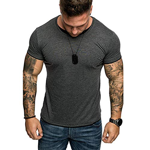 - Men's Gym Muscle Fitness Simple Short Sleeve,MmNote Cotton Elastic Antibacterial Premium Fitted Cool Quick Quick-Dry T-Shirt Gray