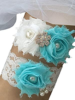 MerryJuly Wedding Bridal Garter Set Lace with Aqua Blue Chiffon Flowers