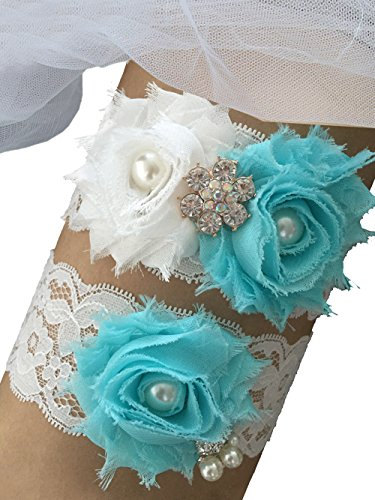 MerryJuly Wedding Bridal Garter Set Lace with Aqua Blue Chiffon Flowers (M(14-18 inch))