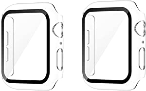 [2 Packs] Sproerden Hard Case for Apple Watch Series SE 6 5 4 40mm with Built in Tempered Glass Screen Protector,HD Clear Ultra-Thin Overall Protective Case(2 Transparent)