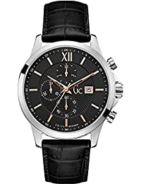 Mens Gc Executive 44mm Black Leather Band Steel Case Quartz Analog Watch Y27001G2