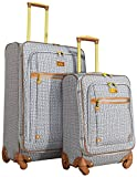 Nicole Miller Taylor 2-Piece Luggage Set: 28'' and 20'' Expandable Spinners (Black/White Plaid)