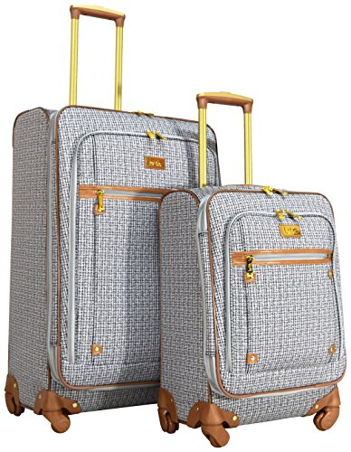 Nicole Miller Taylor 2-Piece Luggage Set: 28'' and 20'' Expandable Spinners (Black/White Plaid) by Nicole Miller
