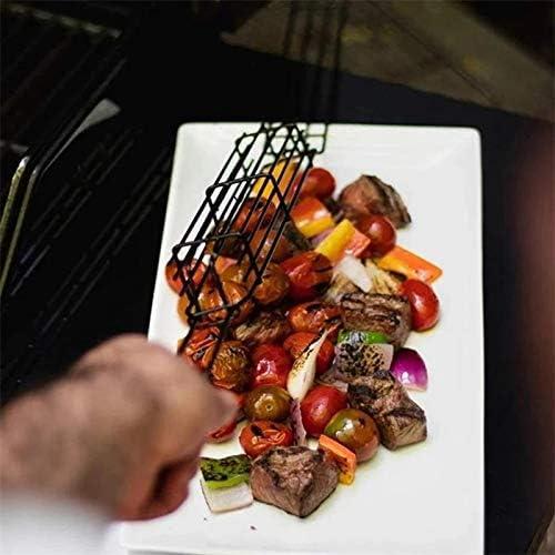 Classicoco Filet de Barbecue carré en Acier Inoxydable avec paniers de Barbecue avec poignée en Bois