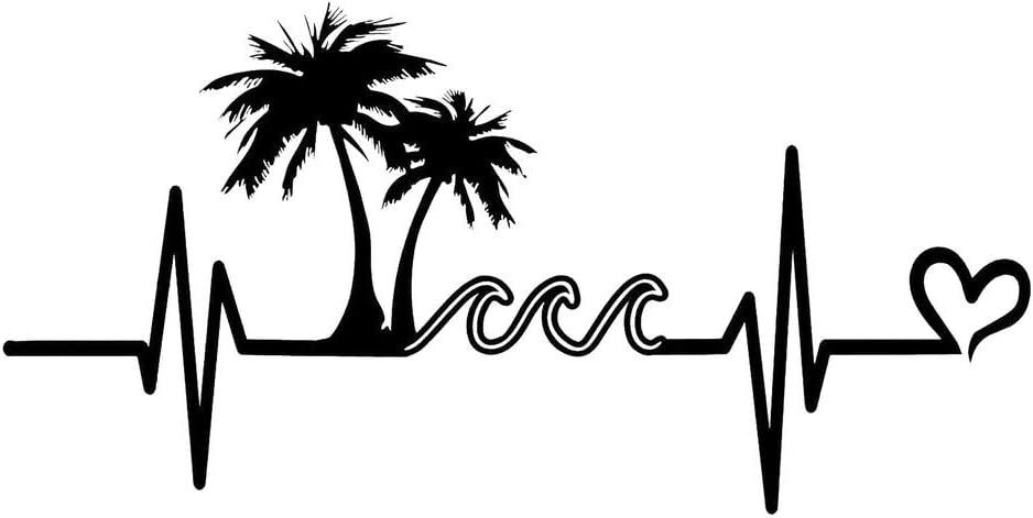 Makarios LLC Palm Tree Beach Waves Heartbeat MKR Decal Vinyl Sticker |Cars Trucks Vans Walls Laptop|Black|7.5 x 3.7 in|MKR1162