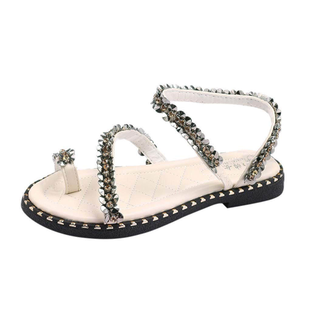 Thenxin Women Fashion Summer Beach Thongs Sandals Crystal Strappy Casual Shoes (Beige,6.5 US)