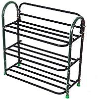 SunRise 3 Shelves Metal Shoe Stand (Black)
