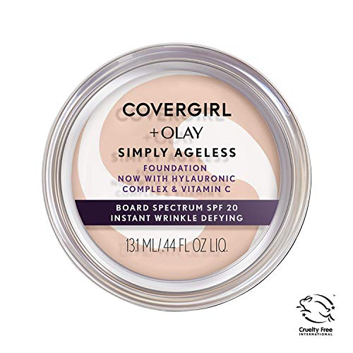 COVERGIRL & Olay Simply Ageless Instant Wrinkle Defying Foundation Creamy Natural 0.4 Ounce Pot, Foundation Plus Titanium Dioxide Sunscreen SPF 28 (packaging may vary) ()