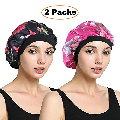EINSKEY Womens Satin Bonnet 2-Packs Sleeping Cap Night Cap Hair Cap Elastic Band by EINSKEY
